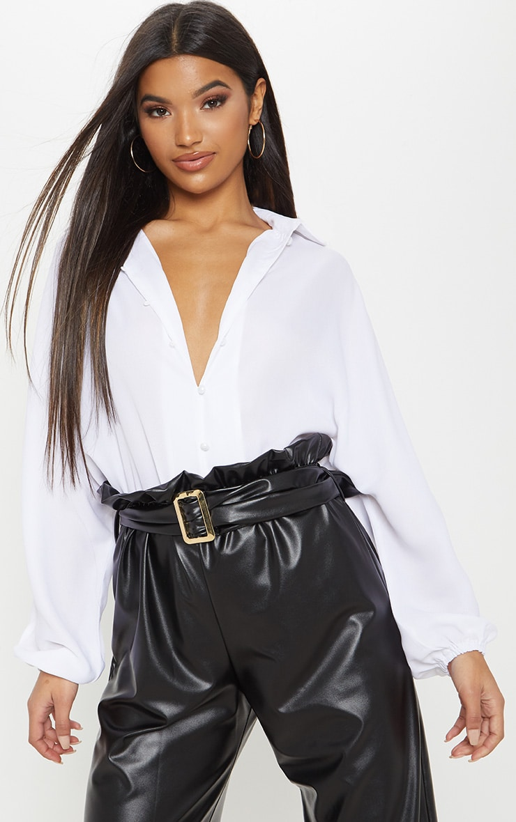 White Chiffon Button Up Oversized Shirt 2