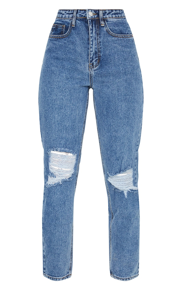 PRETTYLITTLETHING Dark Blue Knee Rip Mom Jean 5
