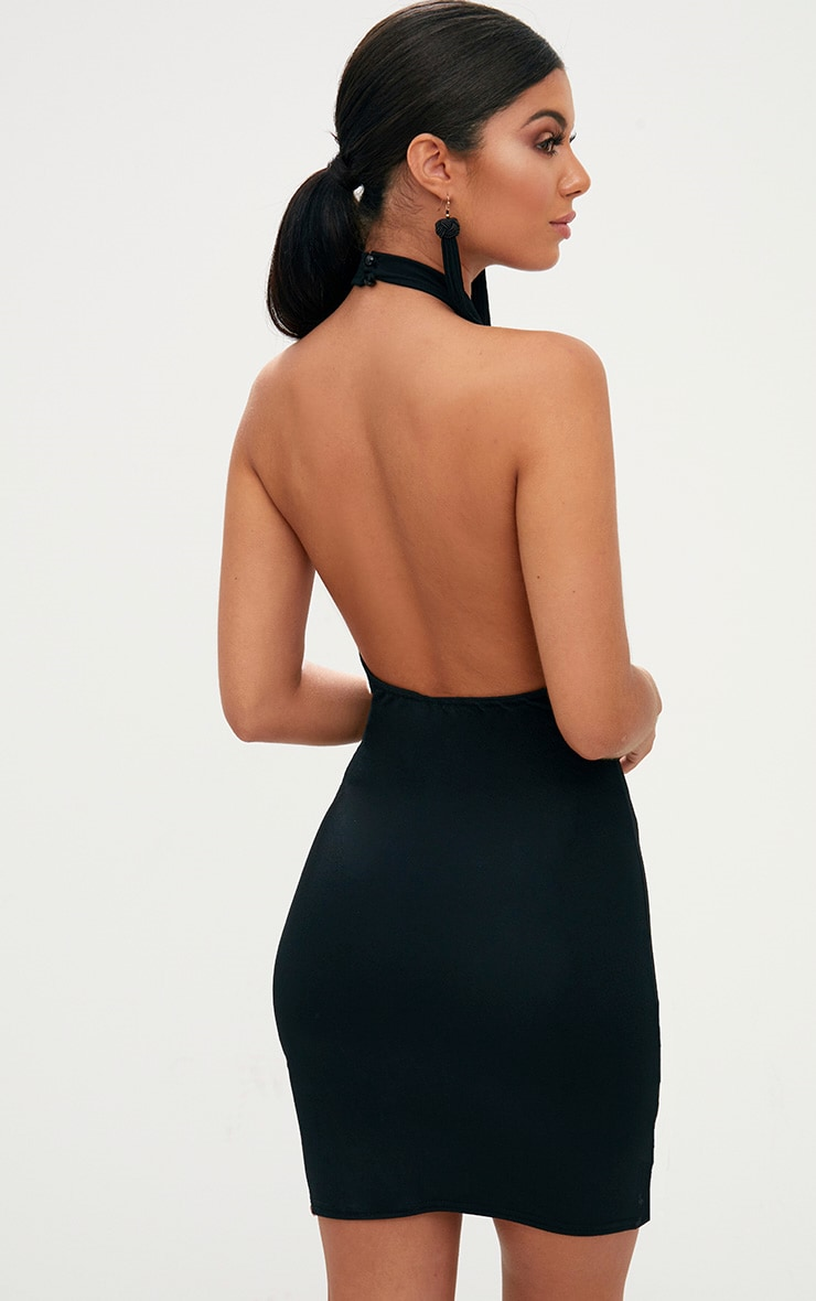 Black High Neck Plunge Front Bodycon Dress 2