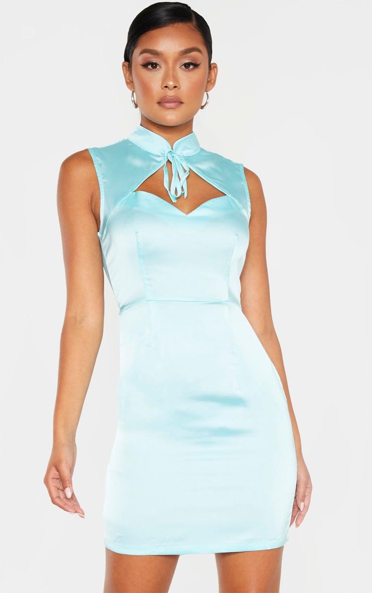 Aqua Blue Satin High Neck Keyhole Detail Bodycon Dress 1