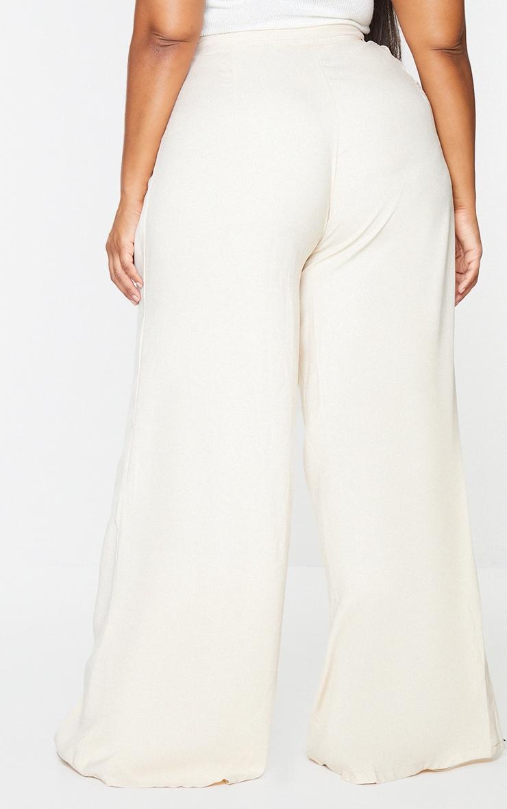 Plus Cream Woven Pleat Detail Waistband Wide Leg Trousers 3