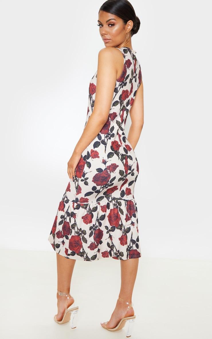 Nude Rose Print Sleeveless Frill Hem Midi Dress 2