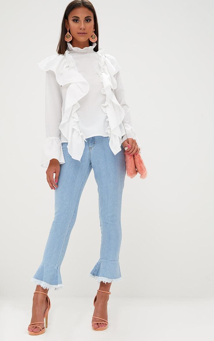White Ruffle Frill High Neck Shirt 4