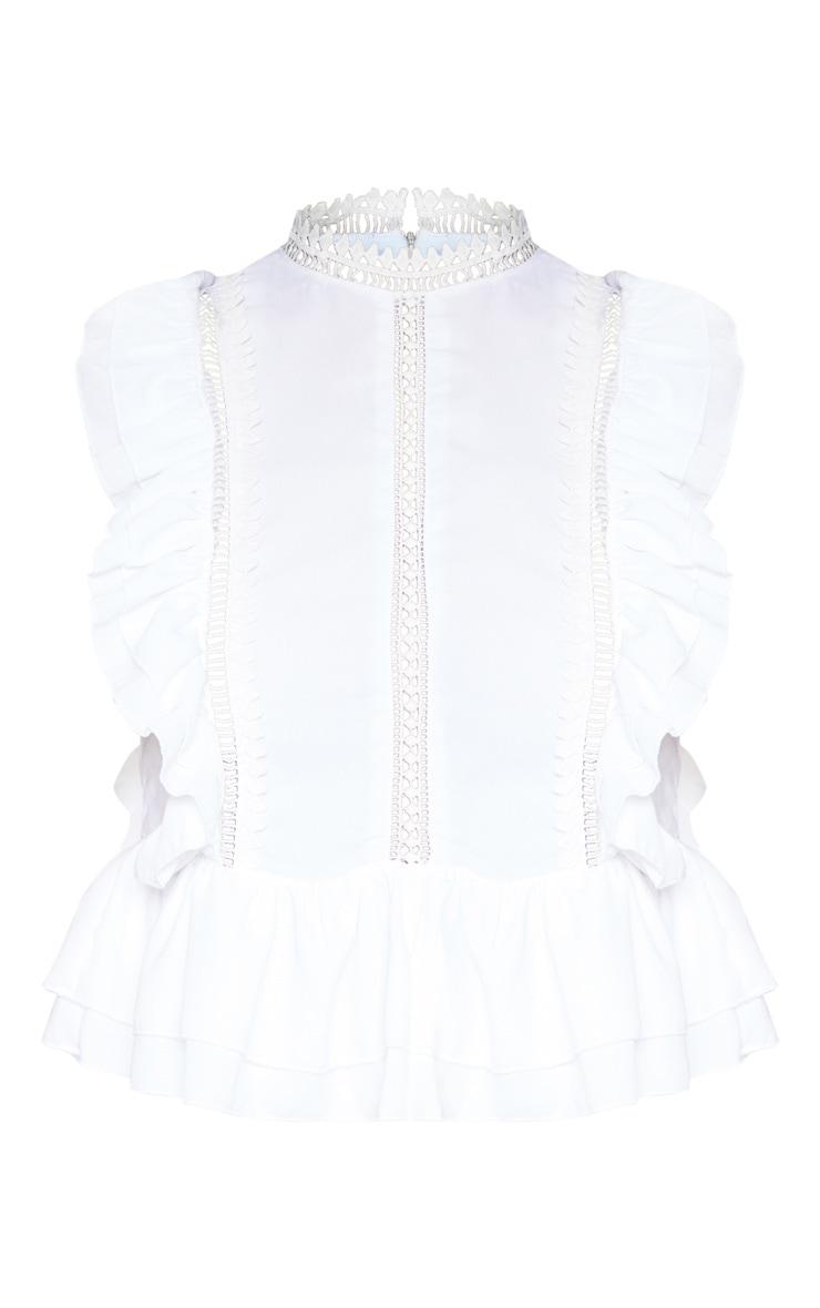 White Woven High Neck Crochet Detail Sleeveless Blouse 3