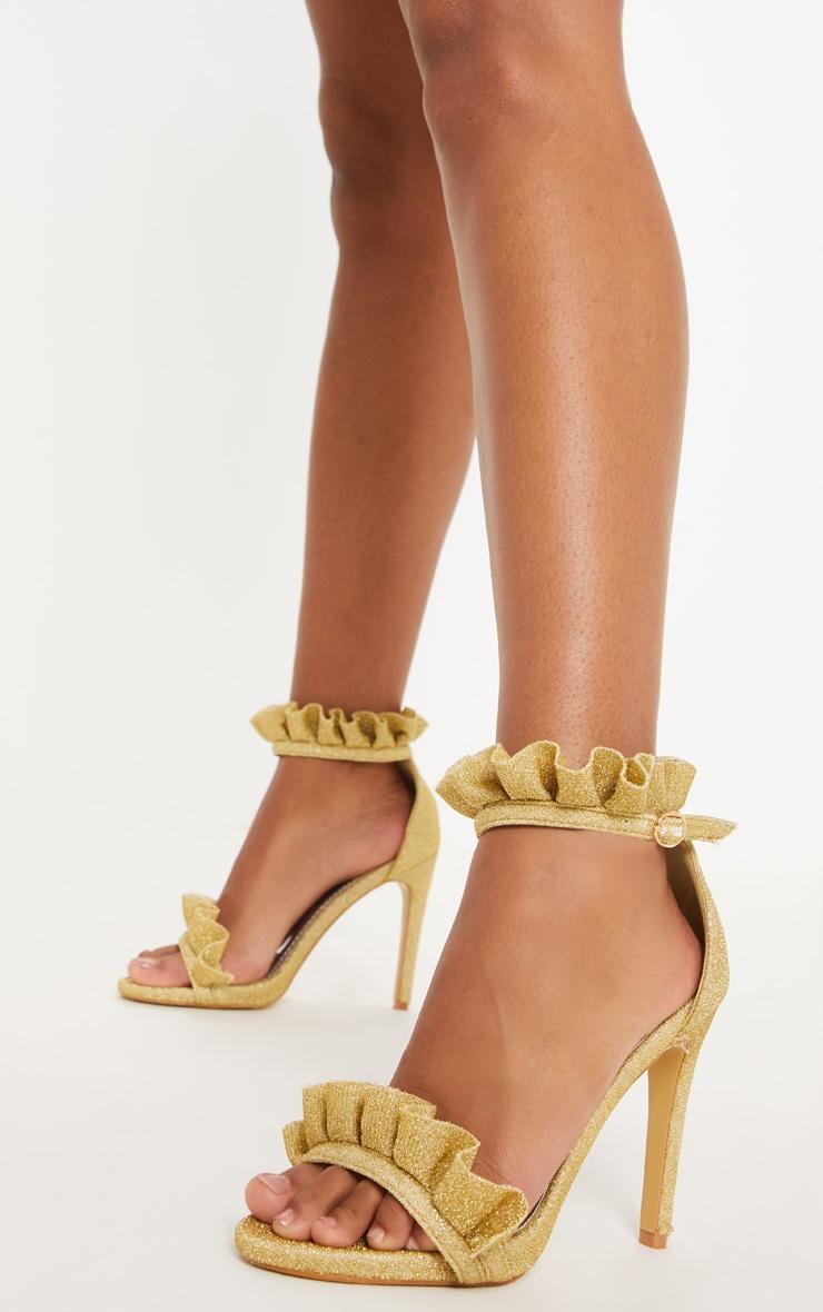 Gold Glitter Frill Strap Heels