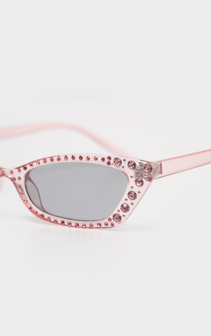 Pink Diamante Slim Cat Eye Sunglasses 3