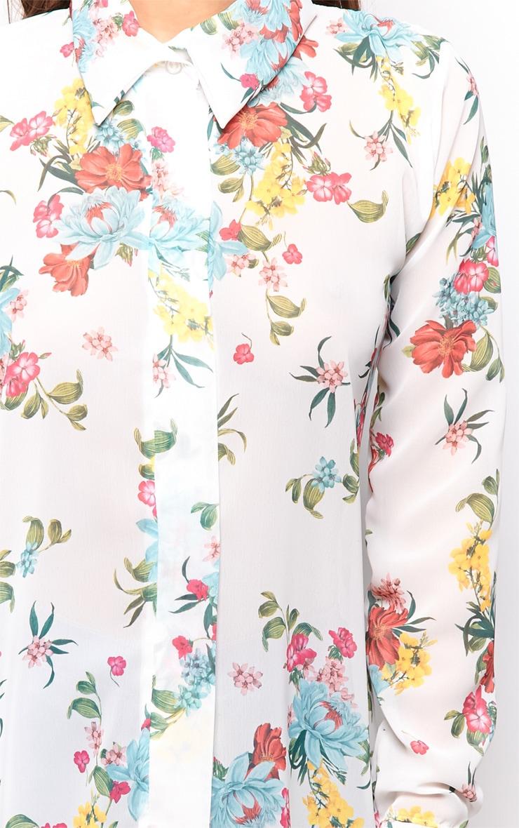 Violet White Floral Chiffon Shirt Dress  4