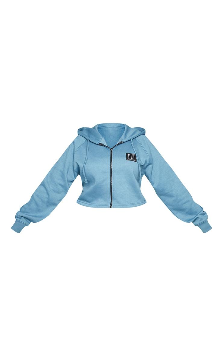 PRETTYLITTLETHING Plus Blue Badge Zip Up Cropped Hoodie 5