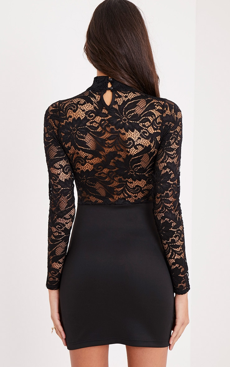 Izzie Black Sheer Lace Top Bodycon Dress 2