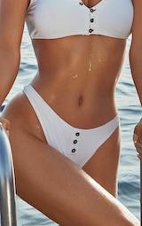 White Ribbed Button Bikini Bottom 1
