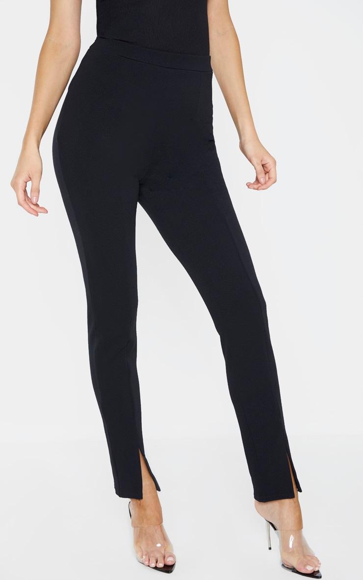 Tall Black   High Waisted Crepe Split Hem Pants  2
