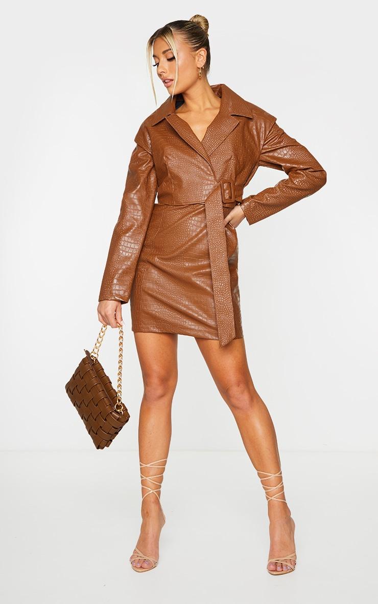 Brown Croc PU Shoulder Pad Buckle Detail Blazer Style Bodycon Dress 1