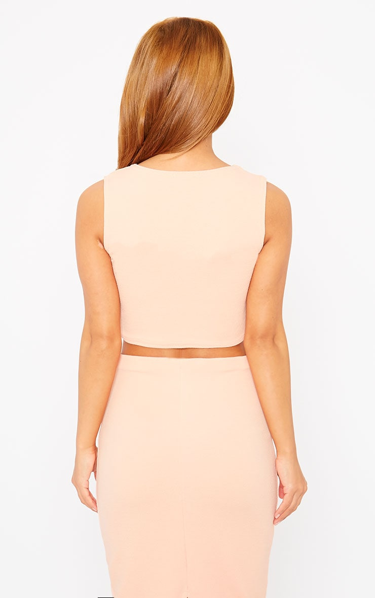 Tess Nude Crepe Cross Front Crop Top 2