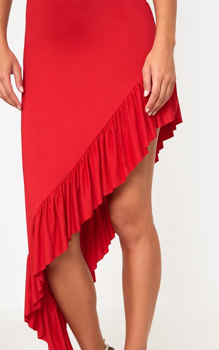 Red High Low Frill Hem Maxi Skirt 5