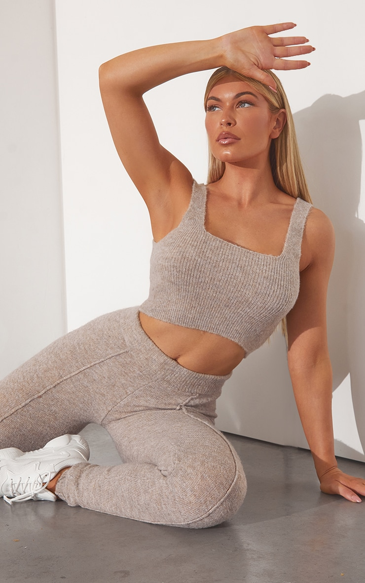 RENEW OATMEAL KNITTED CROPPED TOP