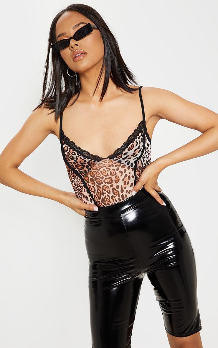 c316d373f Black Leopard Print Mesh Lace Trim Bodysuit image 1