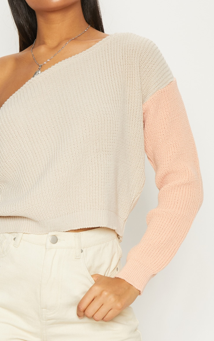 Stone Off Shoulder Cropped Colour Block Jumper 5
