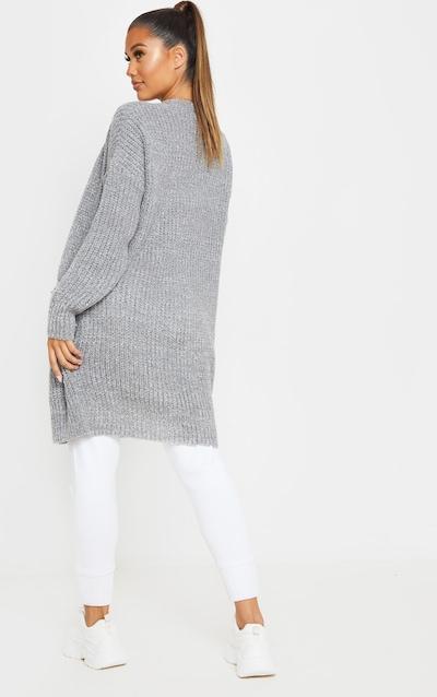 Grey Marled Fisherman Knit Cardigan