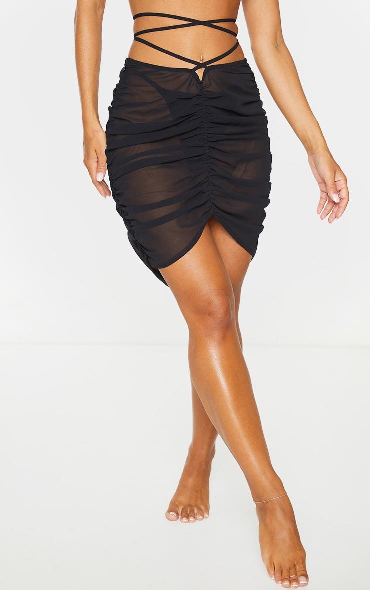 Black Tie Waist Ruched Beach Skirt 2