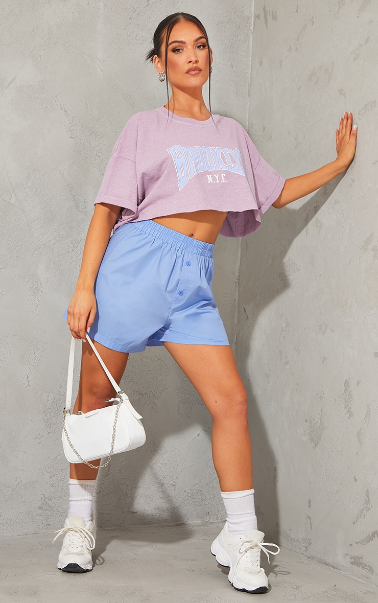 Lilac Brooklyn Printed Washed Cropped T Shirt 3