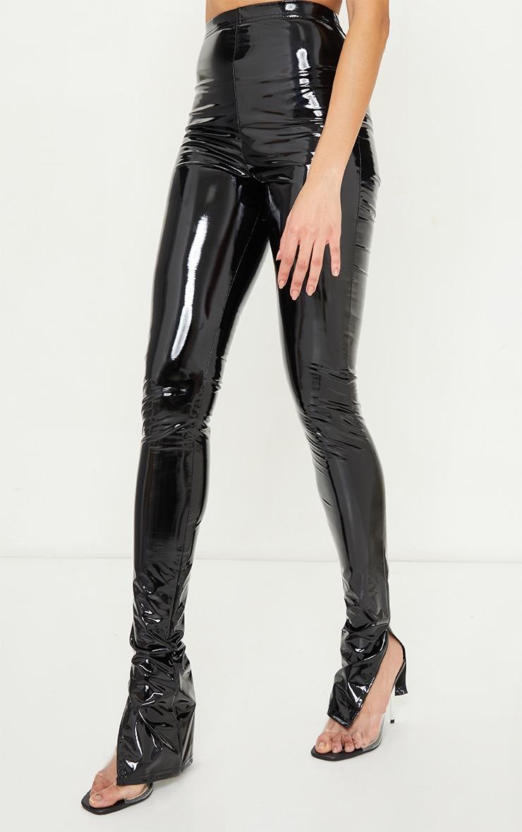 Tall Black Split Hem High Waisted Flared Vinyl Pants 2