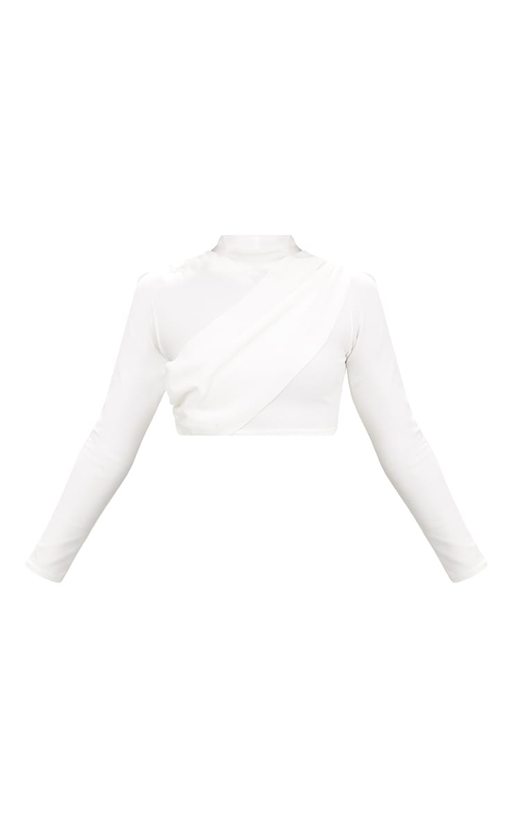 White Crepe Wrap Front Longsleeve Crop Top 3