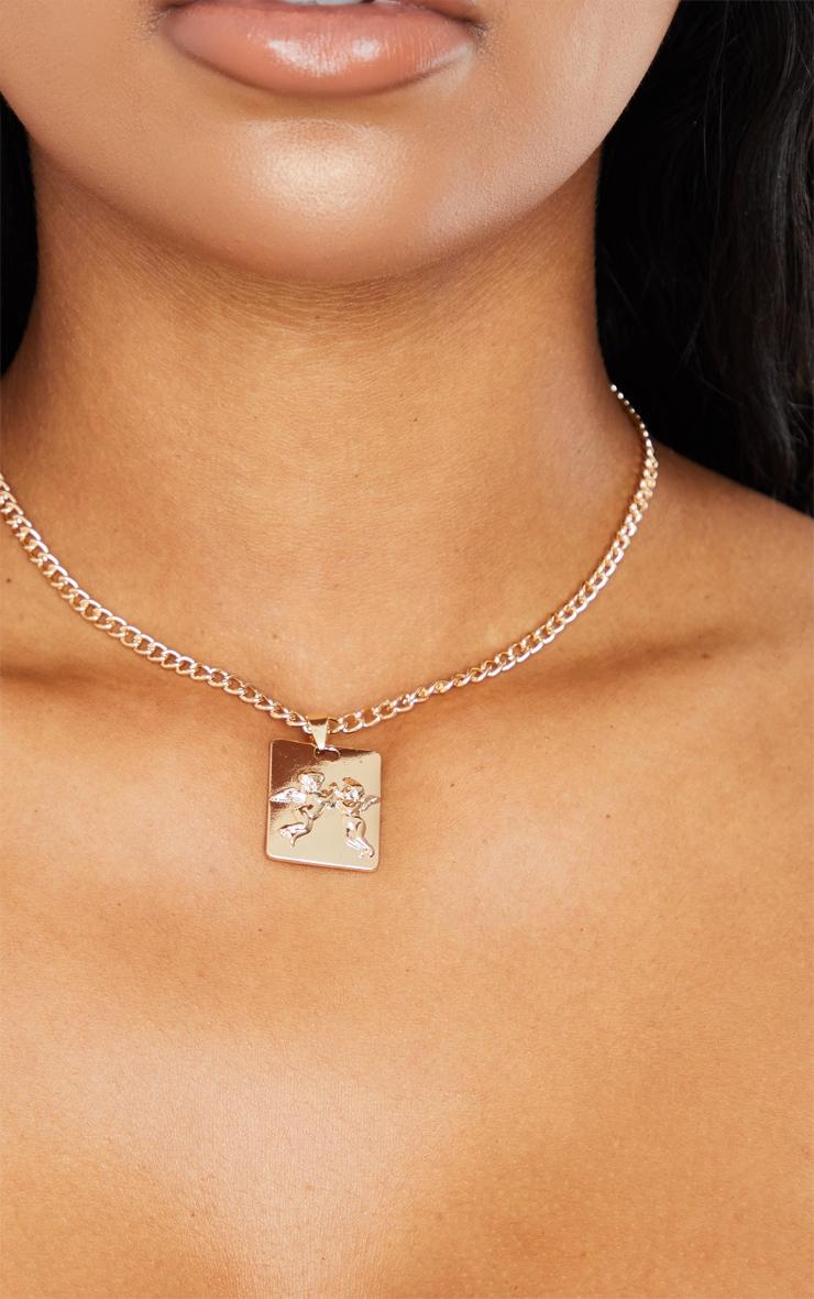 Gold Cherub Pendant Necklace 2