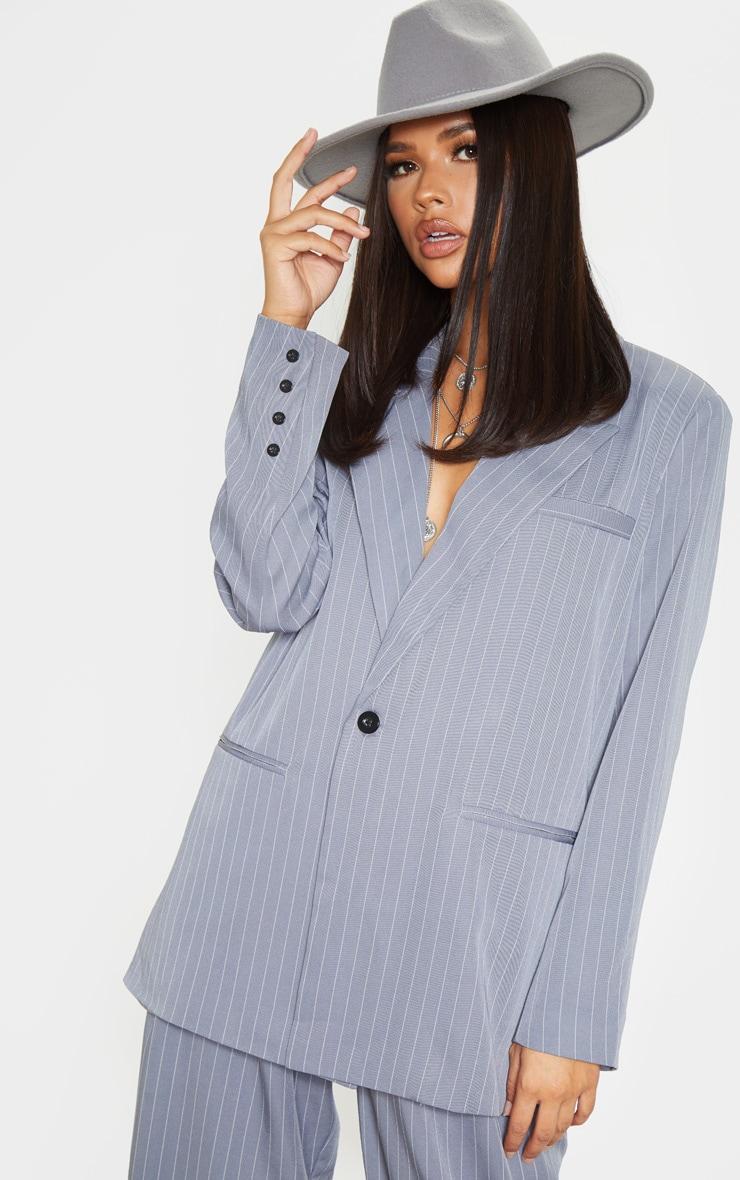 Charcoal Grey Pinstripe Oversized Dad Blazer 1