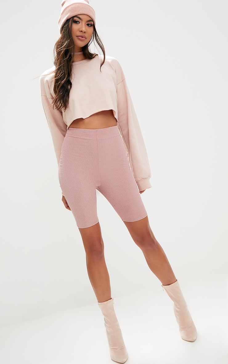 Light Pink Ribbed Shimmer Cycle Shorts 1