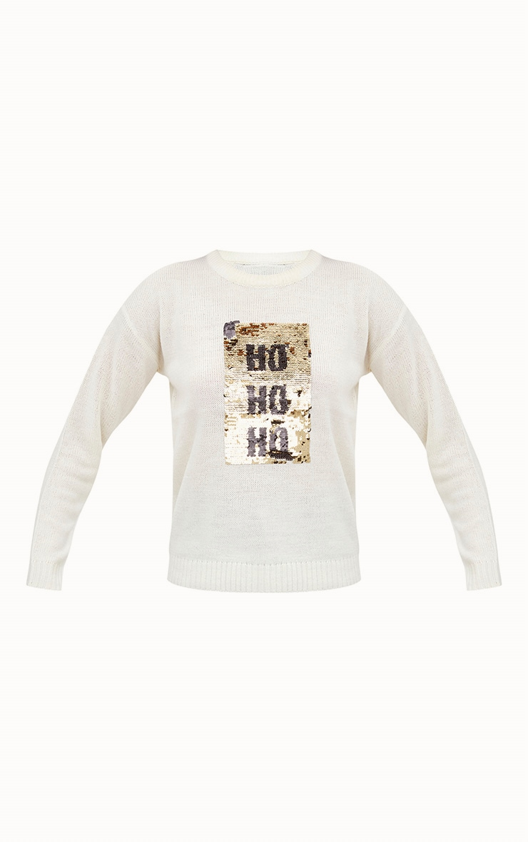 Cream Ho Ho Ho Reversible Sequin Jumper 3