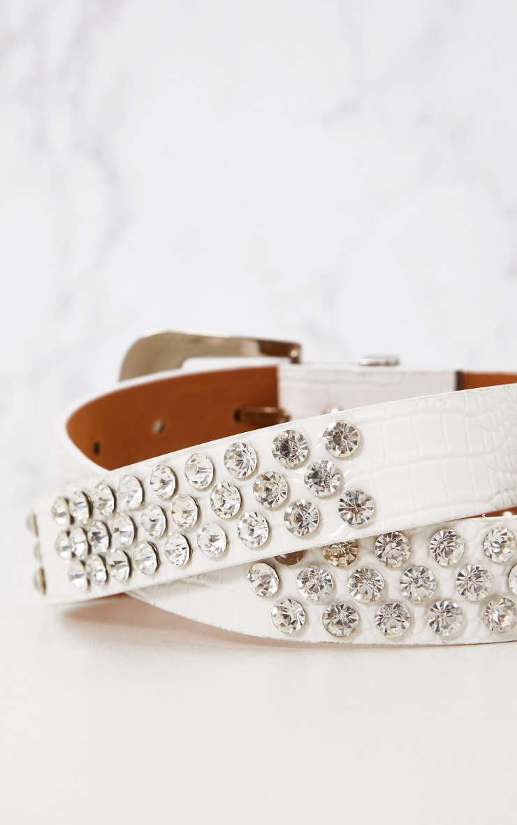 White Diamante Studded Belt 5