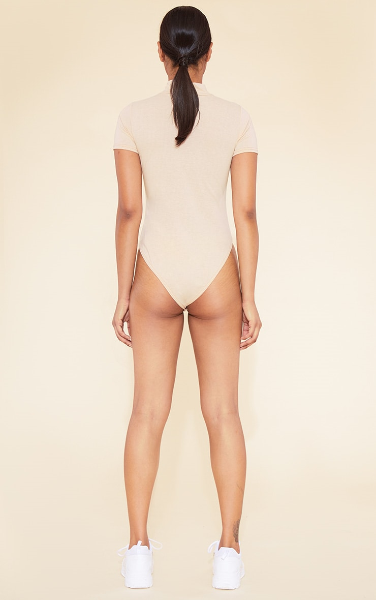 RECYCLED Deep Nude Roll Neck Short Sleeve Bodysuit 6