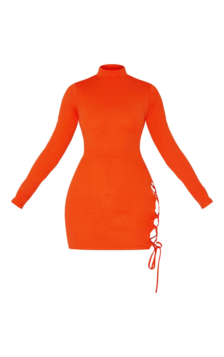 Bright Orange High Neck Cut Out Side Seam Bodycon Dress 5