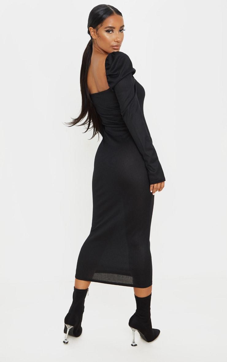 Black Rib Puff Sleeve Popper Front Midi Dress 2