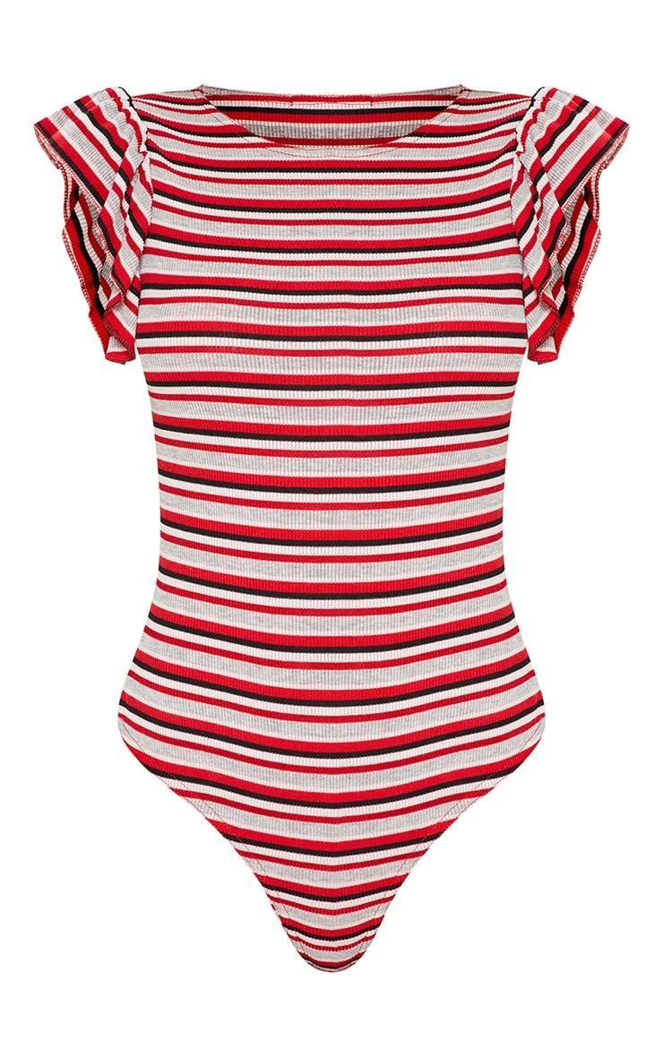 Red Sleeveless Stripe Frill Sleeve Bodysuit 3