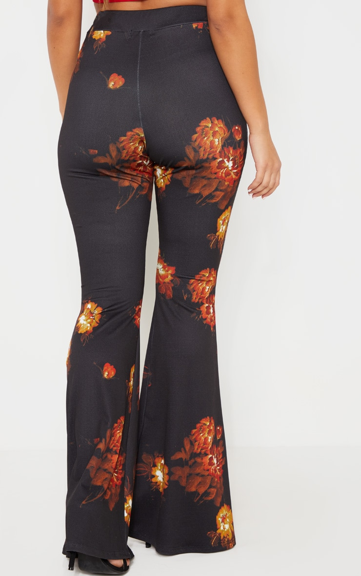 Black Floral Print Flared Trouser 4