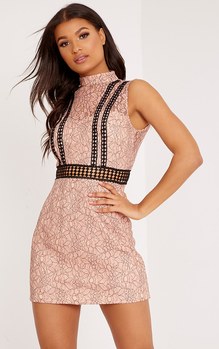 Daphnie Pink Lace High Neck Sleeveless Shift Dress 1