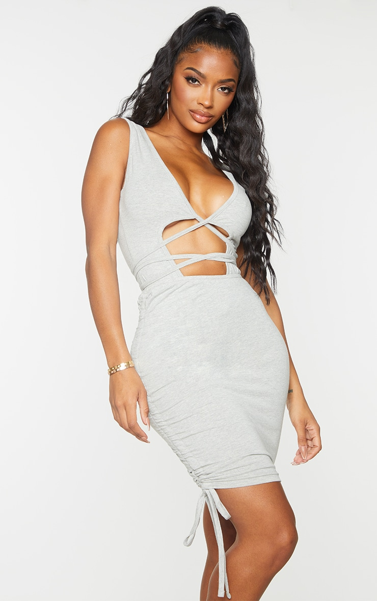 Shape Grey Cotton Ruched Side Bodycon Skirt 1