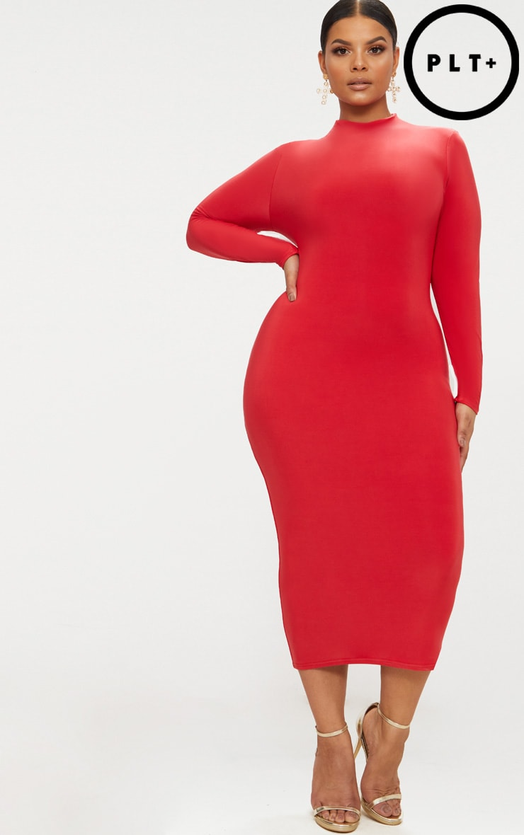Plus Red Double Layered Slinky High Neck Midaxi Dress 1