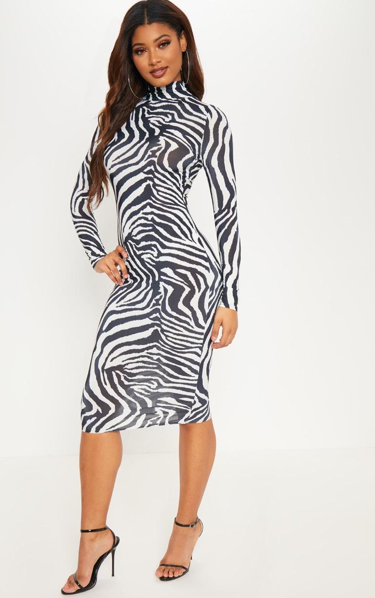 Tall White Zebra Print High Neck Slinky Midi Dress 4
