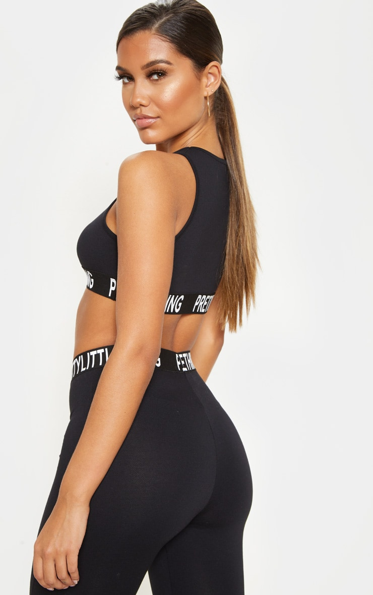 PRETTYLITTLETHING Black Racer Neck Sleeveless Crop Top 2