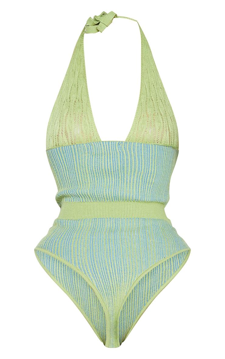 Shape Lime Knit Underbust Detail Halterneck Bodysuit 6