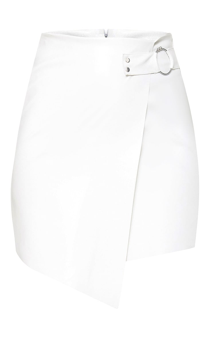 White Faux Leather Ring Belt Mini Skirt 3