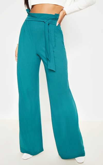 Emerald Green Belted Wide Leg Trousers