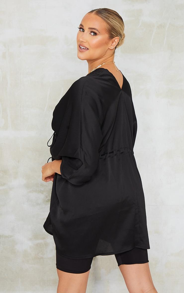 Maternity Black Textured Woven Plunge Tie Waist Blouse 2