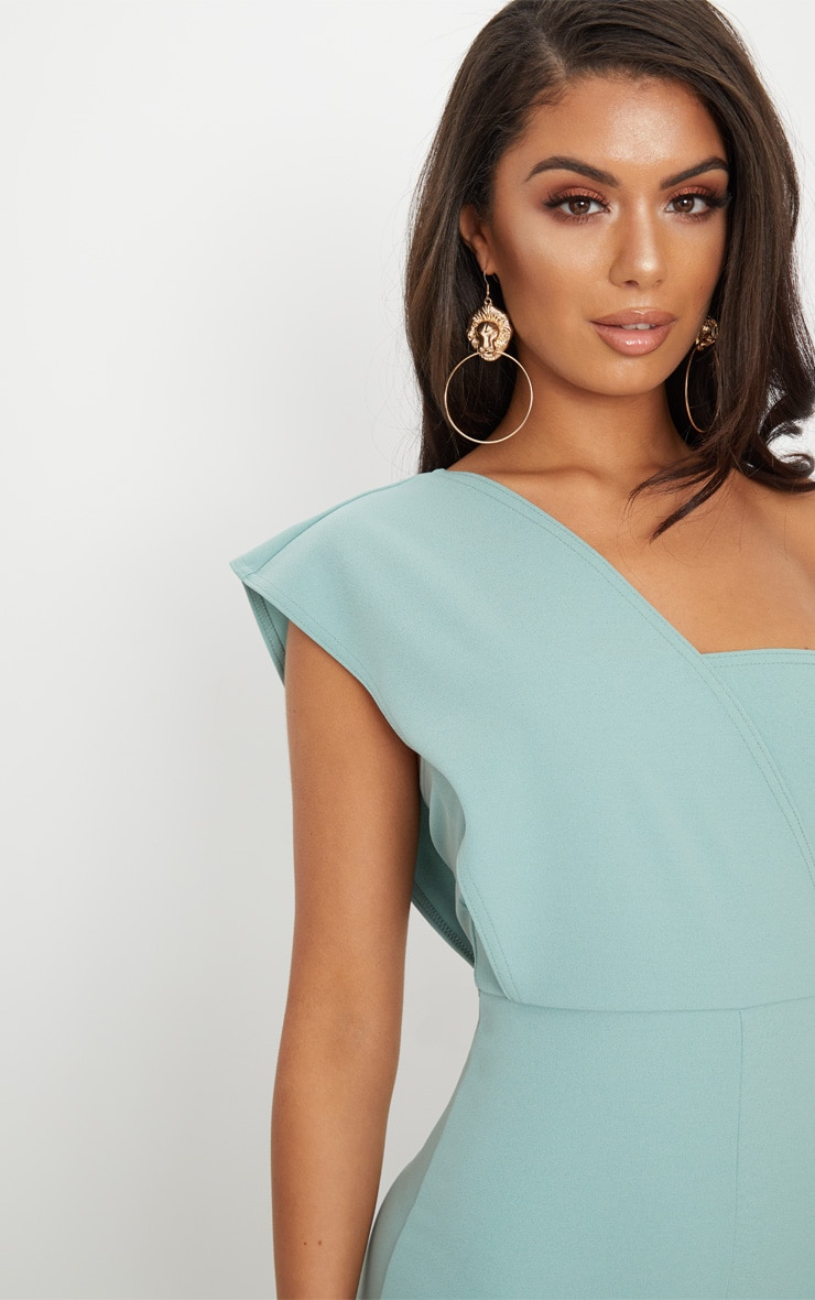 Mint  Drape One Shoulder Jumpsuit 5