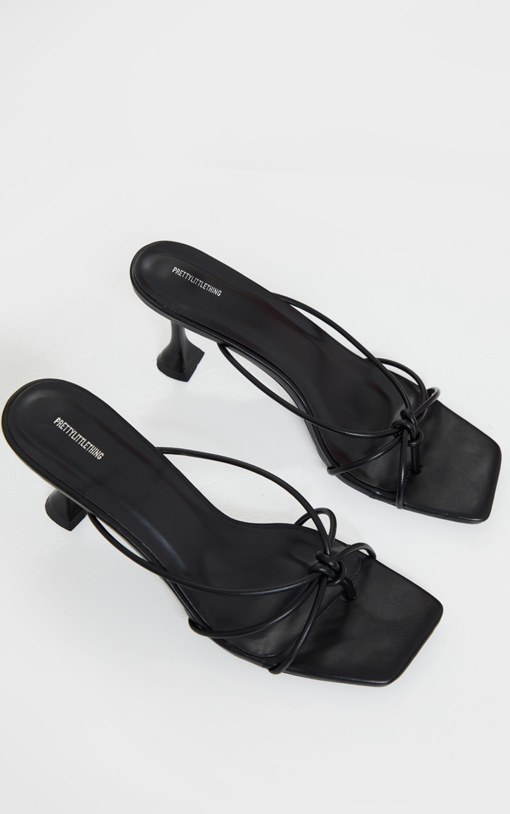 Black Knot Toe Thong Low Heel Cake Stand Mules 3