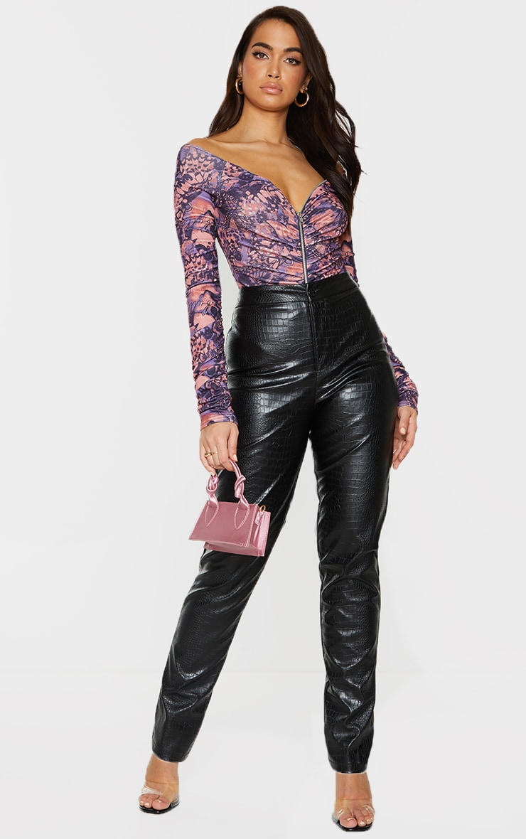 Multi Print Bardot Zip Ruched Sleeve Bodysuit 3