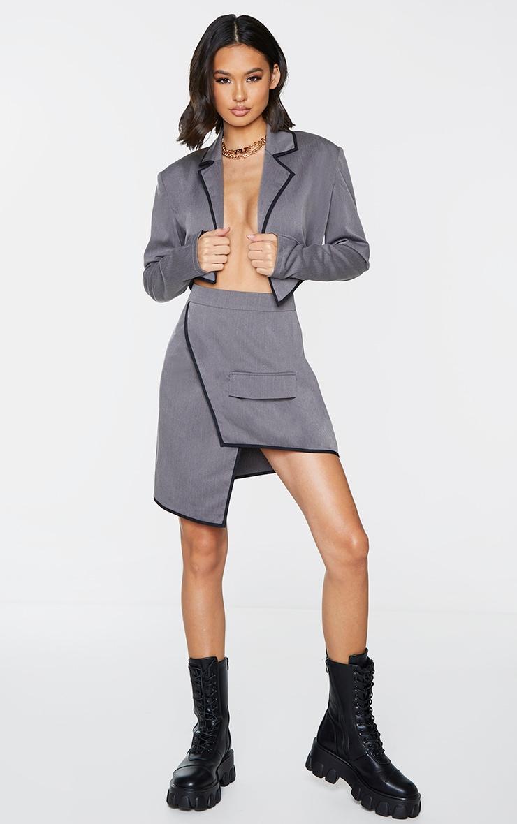 Charcoal Grey Woven Contrast Binding Wrap Over Mini Skirt 1