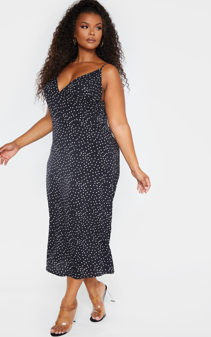 Plus Black Polka Dot Tie Shoulder Midi Dress 4